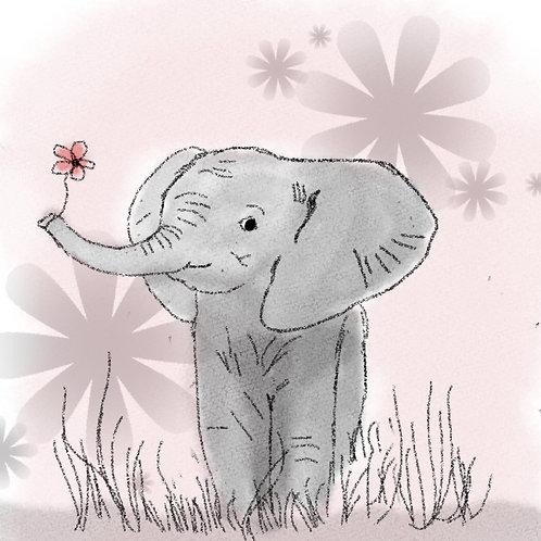 """Coupon tissu carré  velours """"Fleur d'éléphant """" 24x24cm"""