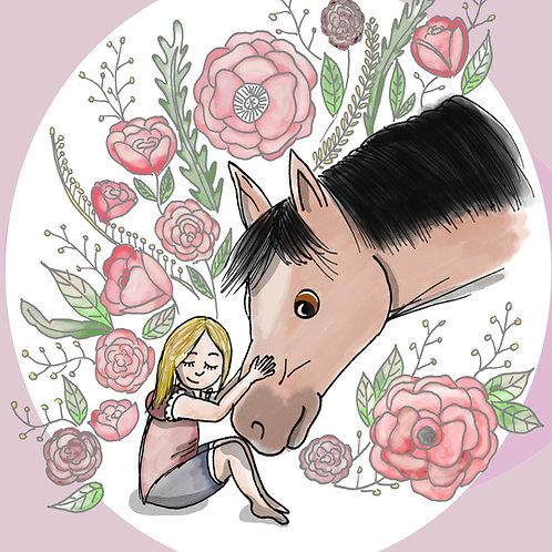 """Coupon tissu carré  velours """"Un amour de cheval """" rose 24x24cm"""