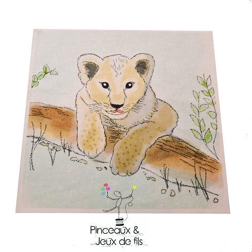 """Coupon tissu carré  velours """"Petit lionceau"""" 15x15cm"""