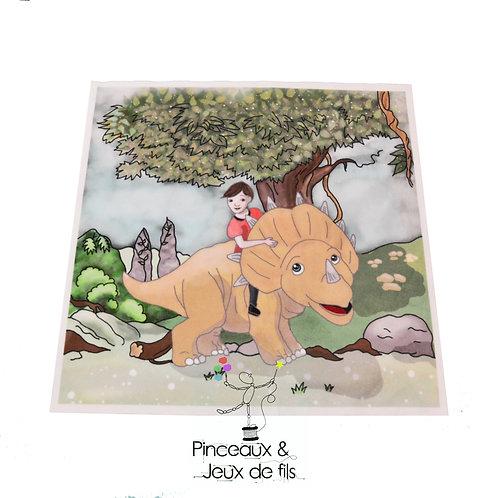 """Coupon tissu carré  velours """"Thomas et les dinos doux"""" 28x28cm"""