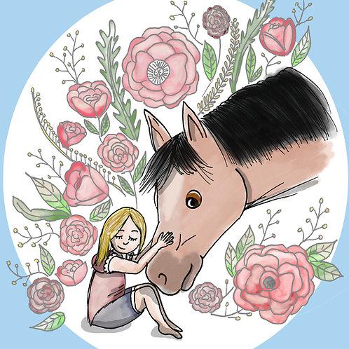 """Coupon tissu carré  velours """"Un amour de cheval """" bleu 28x28cm"""
