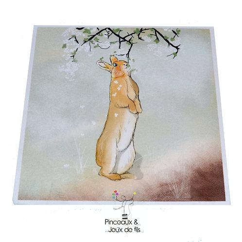 """Coupon tissu carré  velours """"Lapin de printemps"""" 24x24cm"""