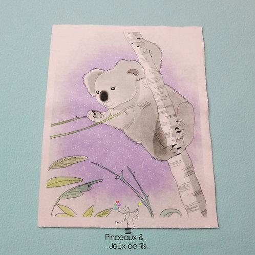 "Coupon tissu 18x25 velours ""Gentil Koala"""