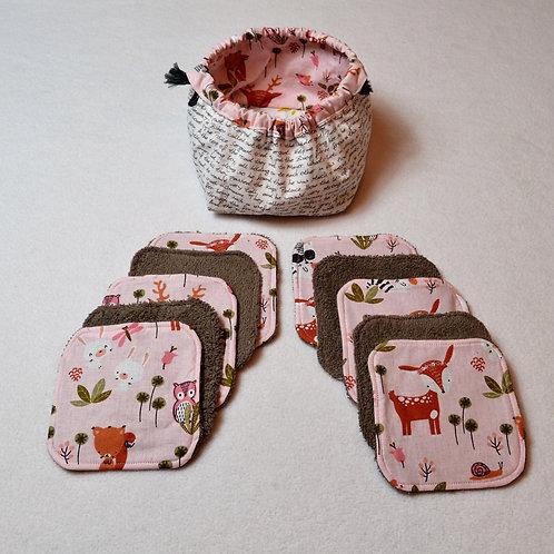 """10 Lingettes lavables enfants """"petits bois roses"""" et leur panier"""