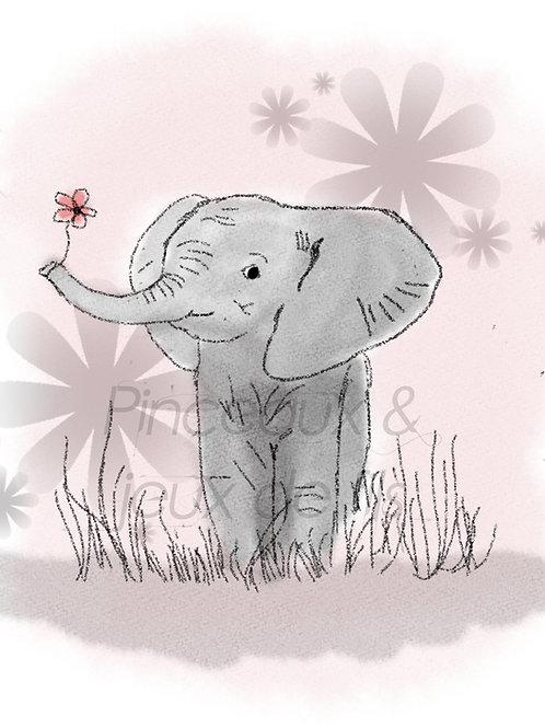 """Coupon tissu 18x25 velours """"Fleur d'éléphant"""""""