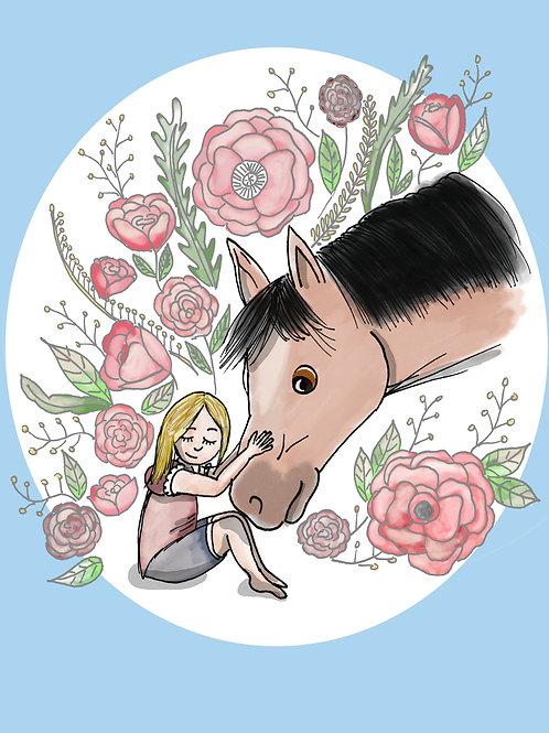 "Coupon tissu 18x25 velours ""Un amour de cheval"" bleu"