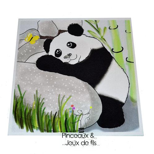 """Coupon tissu carré  velours """"Panda de printemps"""" 24x24cm"""