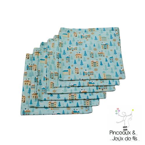 Lot de 6 serviettes de table village enneigé