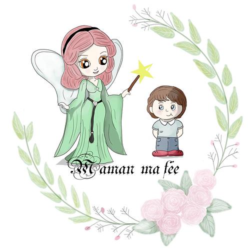 """Coupon tissu carré  velours Fête de mères """"maman ma fée"""" 28x28cm"""