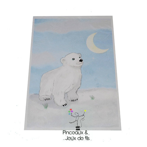 "Coupon tissu 18x25 velours ""Petit ours blanc"""