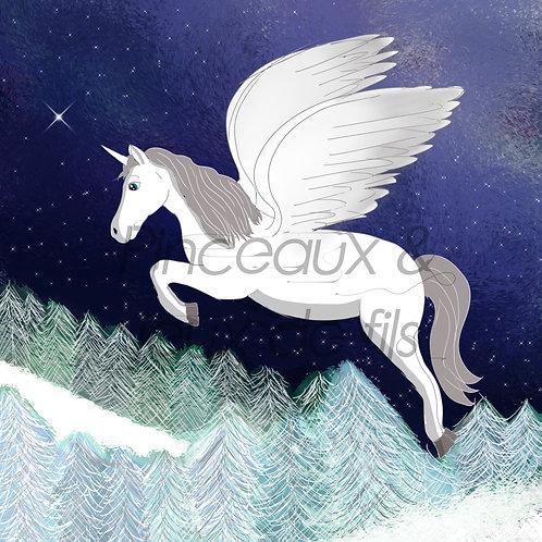 """Coupon tissu carré  velours """"Neige la licorne ailée"""" 15x15cm"""