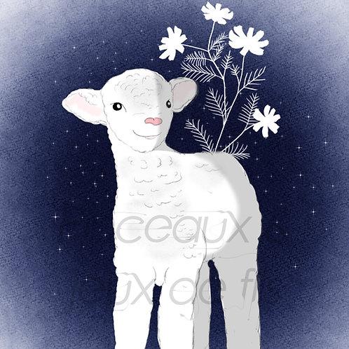 """Coupon tissu carré  velours """"Doux comme un agneau"""" 28x28cm"""