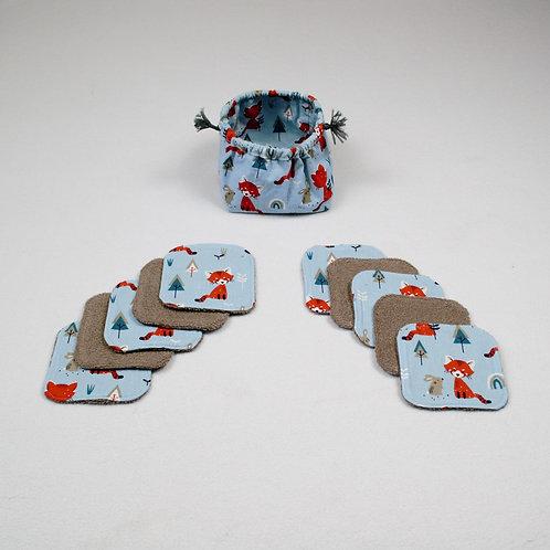 """10 Lingettes lavables enfants  """"panda roux"""" et leur panier/pochon"""