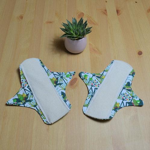 Lot de 2 serviettes hygiéniques nuits lavables  en coton oeko tex jungle