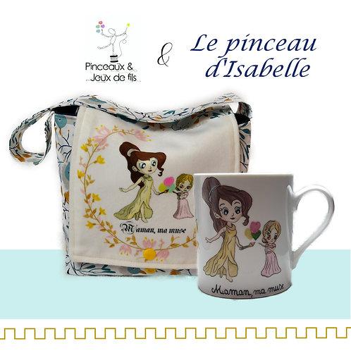 "Ensemble mug et mug bag Fête des mères ""Maman ma muse"""