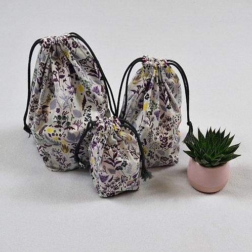 Lot de 3 sacs à vrac à fond plat en coton bio aux motifs fleuris violets