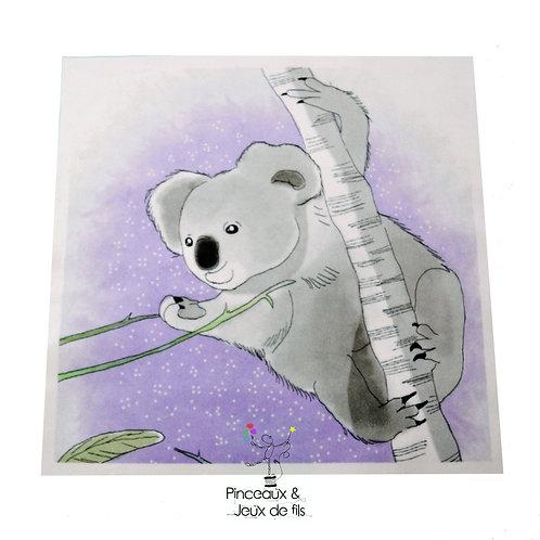 """Coupon tissu carré  velours """"Gentil Koala"""" 24x24cm"""