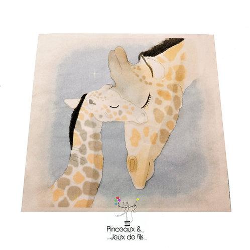"Coupon tissu carré  velours ""Tendres girafes "" 15x15cm"