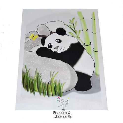 "Coupon tissu 18x25 velours ""Panda de printemps"""