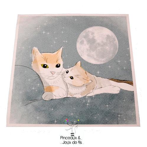 "Coupon tissu carré  velours ""Tendres chats"" 24x24cm"