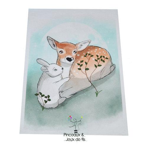 """Coupon tissu 18x25 velours """"Deux amis"""""""