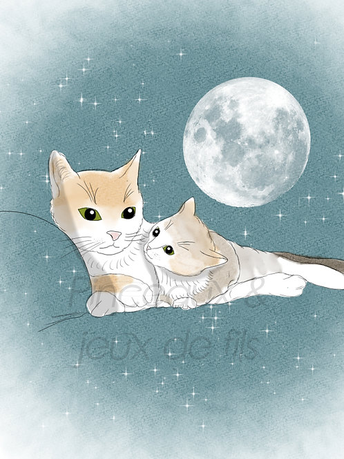 """Coupon tissu 18x25 velours """"Tendres chats"""""""