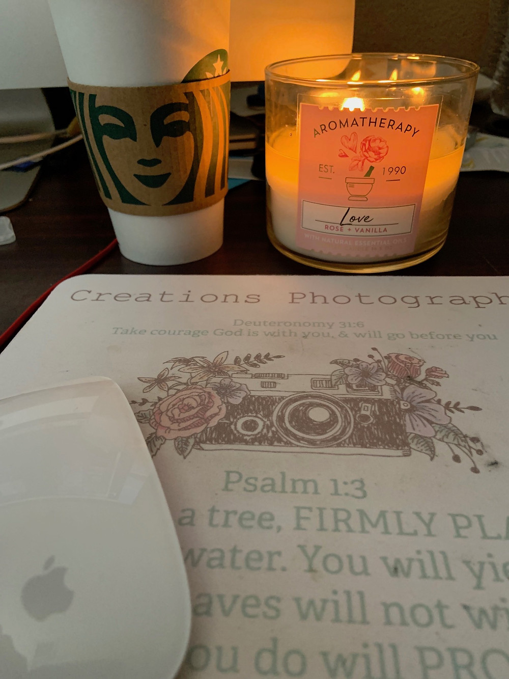 starting a blog, blog world, candles help reflect, Starbucks, Creations Photography, mouse, mouse pad.