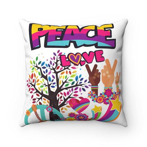 Peace Spun Polyester Square Pillow