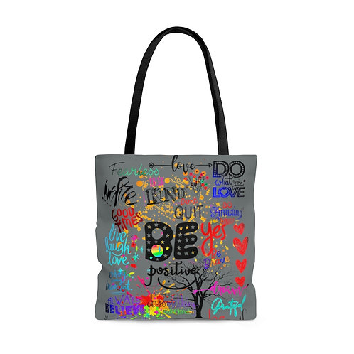 Be Positive AOP Tote Bag