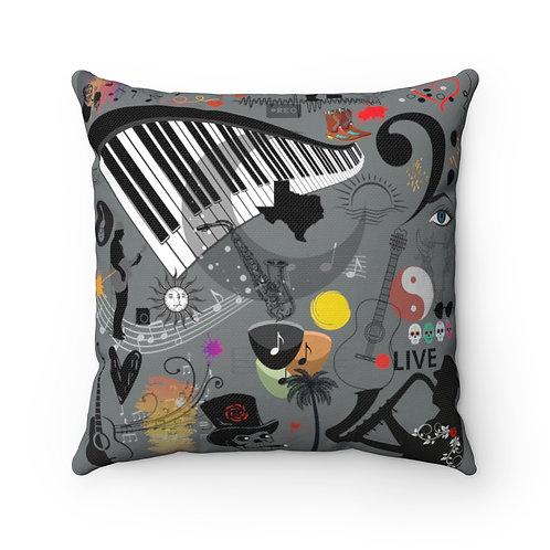 Music Collage Spun Polyester Square Pillow