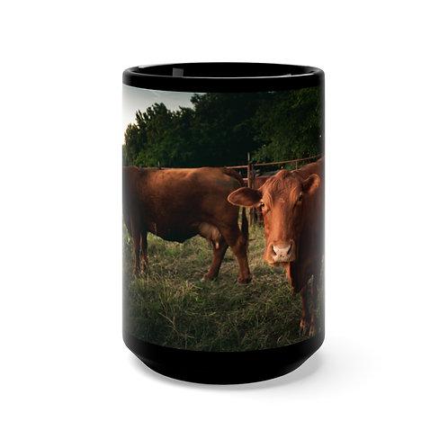 Cows Black Mug 15oz