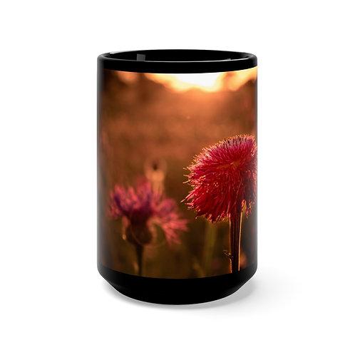 Floral Black Mug 15oz