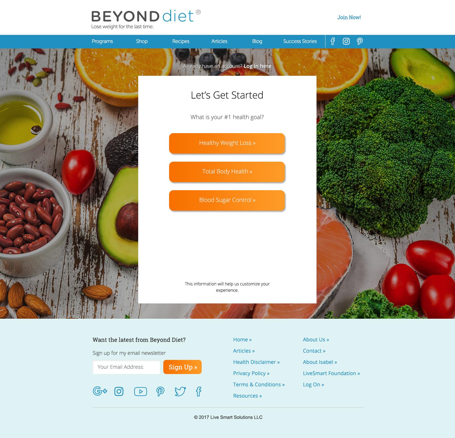 Beyond Diet Registration, page 1