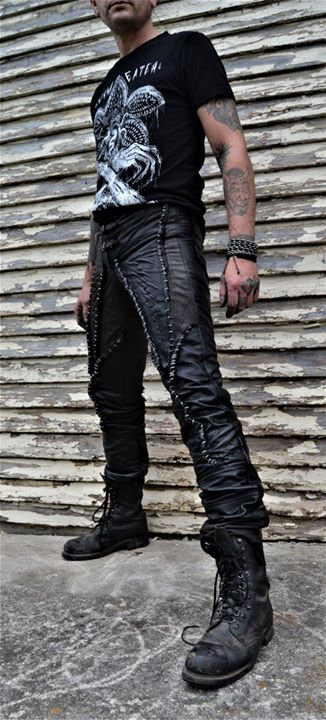 LEATHER SUTURED PANTS