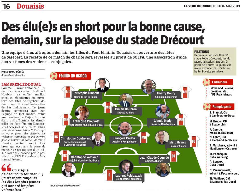 Des élu(e)s en short pour la bonne cause, demain, sur la pelouse du stade Drécourt