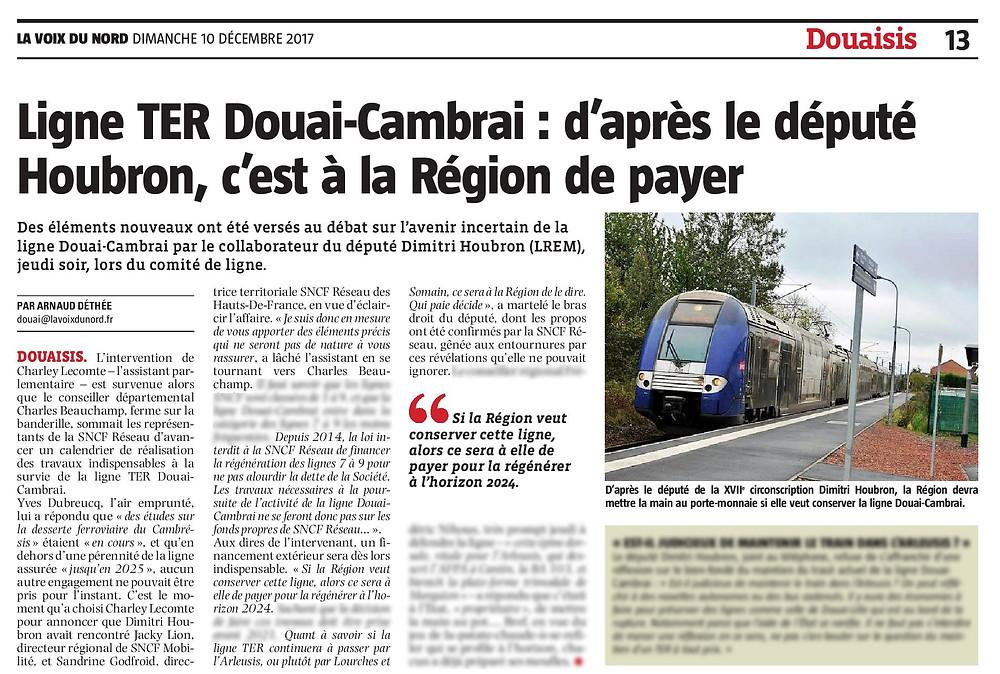 Ligne TER Douai-Cambrai : d'après le député Houbron, c'est à la Région de payer