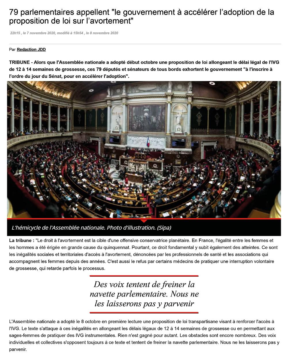 """79 parlementaires appellent """"le gouvernement à accélérer l'adoption de la proposition de loi sur l'avortement"""""""