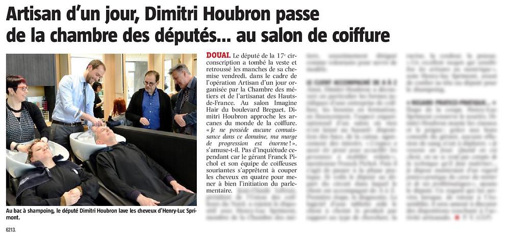 Artisan d'un jour, Dimitri Houbron passe de la chambre des députés...au salon de coiffure