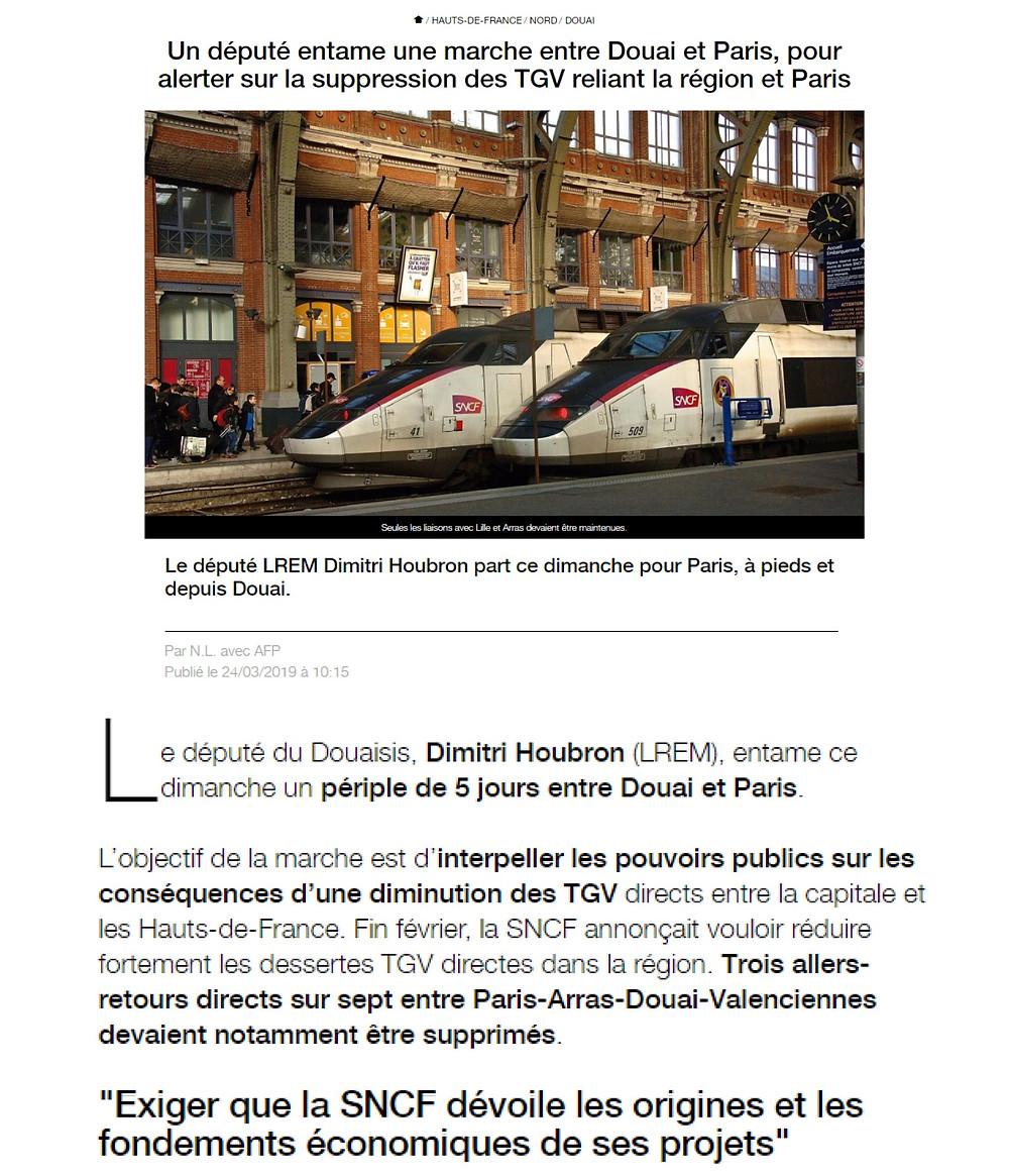 Un député entame une marche entre Douai et Paris, pour alerter sur la suppression des TGV reliant la région et Paris