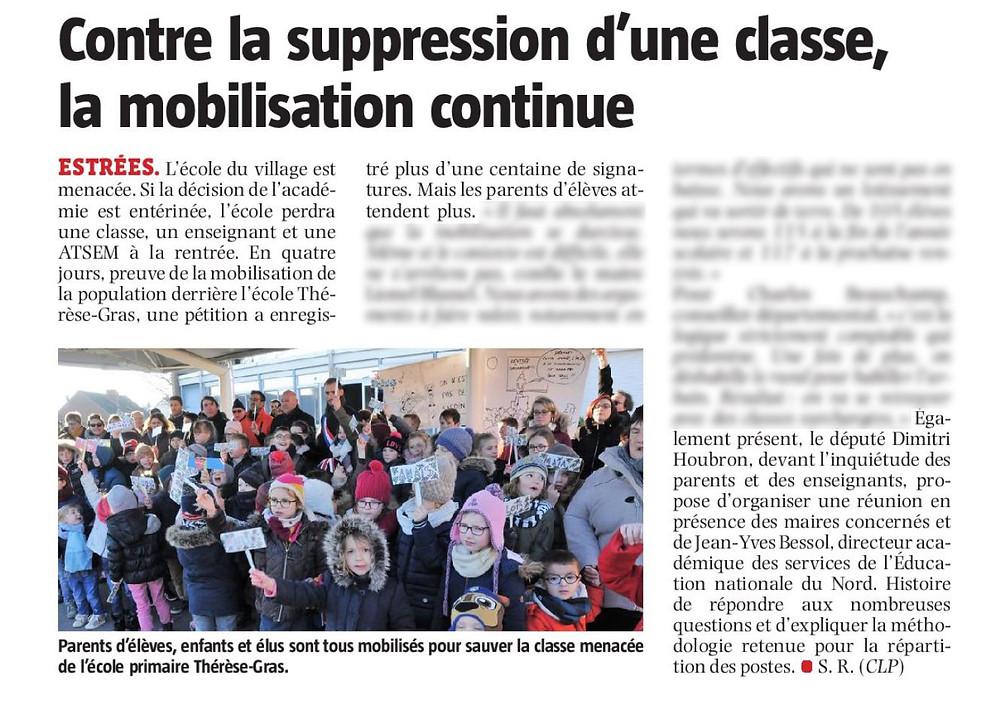 Contre la suppression d'une classe, la mobilisation continue