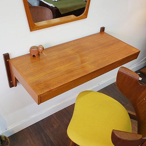 20%OFF,Danish Teak Floating Shelf, Desk, Vanity