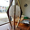 Thumbnail: Vintage Walnut & Brass Hive Glass Shade Lamp