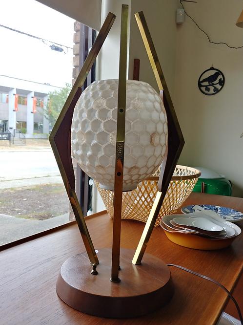 Vintage Walnut & Brass Hive Glass Shade Lamp