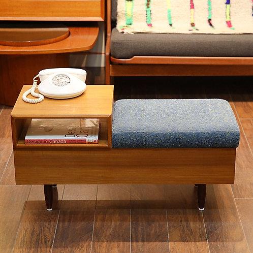 Canadian Vintage Teak Telephone / Gossip Bench