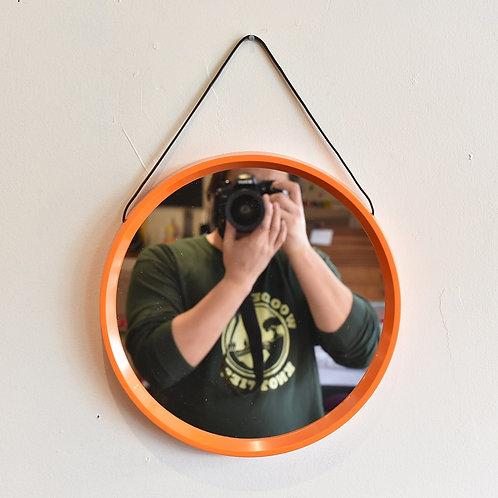 Vintage Round Orange Mirror