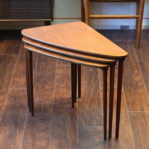 Danish Modern Heltborg Møbler Triangular Nesting Tables