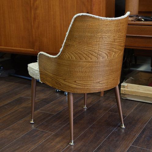 Vintage Oatmeal Tweed Fabric & Metal Legs Accent Chair