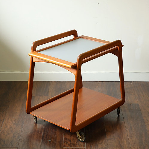 Danish Modern Teak Tray top Tea Trolley