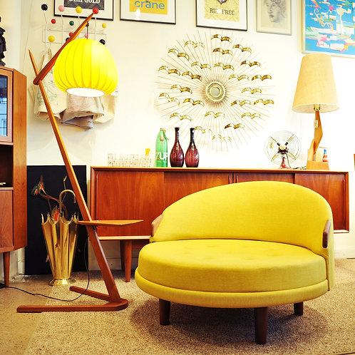 Mid Century Danish Modern Teak Z-Shape Frame with Fab Yellow Asian Lantern Lamp