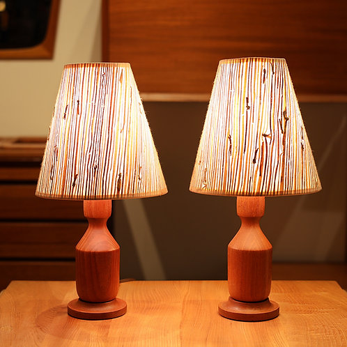 Pair of Vtg Mid-Century Modern Teak Table Lamps